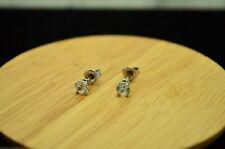 14K WHITE GOLD 4.5mm ROUND WHITE AMETHYST STUD EARRINGS