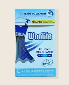 Woolite At-Home Dry Cleaner Fresh Scent 6 Loads/Cloths-New