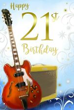 21st 21 Guitare Électrique Ampli Stars & Défiler Design HAPPY BIRTHDAY CARD