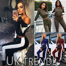 UK Women 2 PCS Tracksuits Set Off Shoulder Ladies Striped Active Loungewear