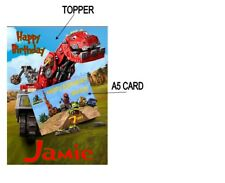 """PERSONALISED DINOTRUX A5 BIRTHDAY CARD & CAKE TOPPER 10""""X8"""" A4 ICING SHEET COMBO"""