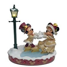 Disney Parks Light-Up Victorian Christmas Figure Mickey Minnie Mouse Skating NEW