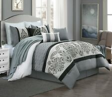 7 Piece Kazue Floral Embroidery Emboss Comforter Set Bed-In-A-Bag (King, Gray)