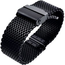 18mm Stainless Steel  Mesh Milanese Watch Band Bracelet Color Black  PVD