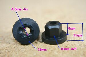20 Plastic nuts washer self tapping nut flanged hexagon hex flange 4mm hexagonal