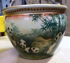 "New 8"" Oriental Panda Family In Bamboo Themed Fish Bowl Jardiniere Planter Pot"