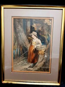 HAND PAINTED ORIGINAL WATERCOLOR PORTRAIT PAINTING VICTORIAN LADY FRAMED  SIGNED