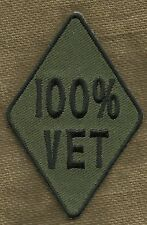 100% VET One Hundred Percent Veteran Military Motorcycle Biker Patch - OD & Blk
