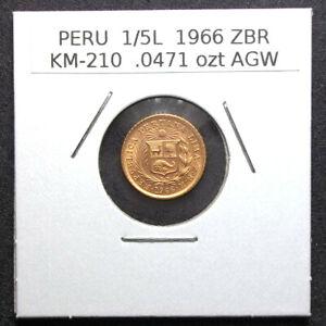 PERU - 1966 ZBR - 1/5 LIBRA GOLD - UNCIRCULATED - 1/5L - KM-210