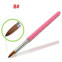 1PC Acrylic Nail Brush 8# Nail Art Tool Kolinsky Sable Hair Pink Metal Handle