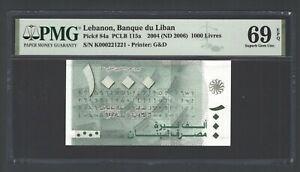 Lebanon 1000 Lira 2004(ND2006) P84a N000221221 Uncirculated  Grade 69 Top Pop