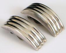 Fashion Earrings Modernist Sleek Elegant ! Vintage Sterling Silver Clip On Fine