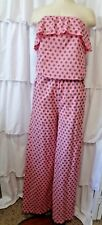 P.S. Fashion Romper pink womens S polka dot off shoulder