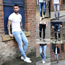 Men Ripped Jeans Frayed Slim Fit Distressed Denim Pencil Pants Elastic Casual US