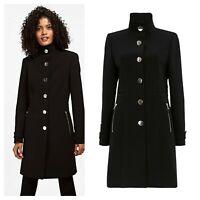 ex Wallis Black Funnel Neck Tailored Zip Pocket Crepe Coat