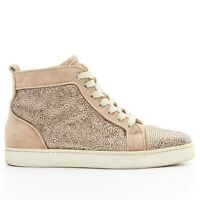 CHRISTIAN LOUBOUTIN Louis dusty rose strass crystal high top sneakers EU38.5