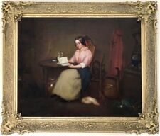 The Novel Reader Antique Genre Oil Painting by R. Hubbard (British, c.1857)