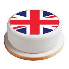 "Great Britain / Union Jack Flag 8"" Pre-Cut Round Cake Topper Premium Icing Sheet"