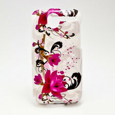 For HTC Desire Protector Hard Case Snap on Phone Cover White Purple Flowers