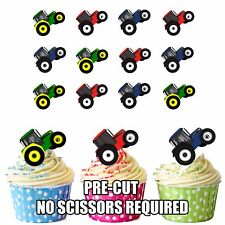 PRECUT Toy Tractors 12 Edible Cupcake Toppers Birthday Decorations Boys Birthday