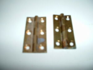 """VINTAGE 2 PAIRS 1 1/2"""" X 7/8""""  BRASS BUTT HINGES 4 hinges"""