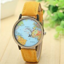 YELLOW Travelling World Map Plane Pattern Watches Denim Quartz Casual Hipster