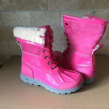 UGG Butte Patent Leather Dove Pink Snow Boots Size 4 Kids Youth fits Women US 6