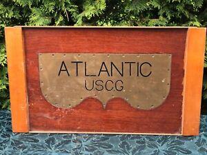 "1920's 'ATLANTIC' U.S. Coast Guard SHIP'S CABIN PLAQUE HEAVY TEAK & BRASS 27"""