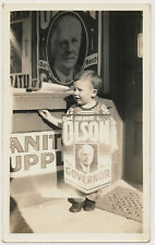 LITTLE SANDWHICH BOARD SIGN BOY for CALIFORNIA GOVERNOR OLSON vtg 30's photo