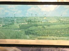 """V OLD 34""""x10"""""""" PANORAMIC JERUSALEM PHOTO FROM MT OF OLIVES, 22 SITES IDENTIFIED!"""