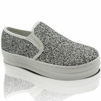 NEW LADIES SPARKLY CHUNKY PLATFORM SLIP ON SKATER TRAINERS PUMP DECK SHOES SIZE