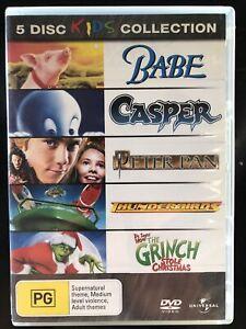 Kids Collection 5 Discs DVD Babe, Casper, Peter Pan, Thunderbirds, The Grinch