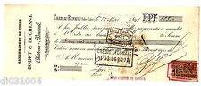 FRANCE BILLET à ORDRE MANDAT CHATEAU-RENAULT 1899 BODET & DUCHESNE CUIRS +TIMBRE