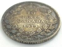 1913 Canada 10 Ten Cent Silver Dime Canadian Circulated George V Coin L559