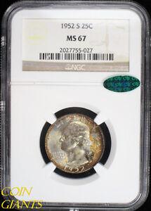 1952-S Washington Quarter Dollar NGC MS 67 CAC Sticker GEM BU UNC 25c High Grade