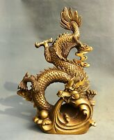 "14.8""Chinese Copper Feng Shui du zodiaque chinois dragon Perle chanceux Statue"