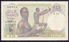 1946 French West Africa 10 Francs EF <P-37>