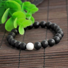Black Agate Beaded Stretch Bracelet 8 MM Beads with White Howlite Accent Bead