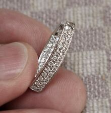 Out Hoop Earring With 39 Diamonds (Vs/G) Single New 18K White Gold .75ct In &