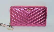 NEW VICTORIA'S SECRET PINK METALLIC V QUILT WALLET CLUTCH LARGE GOLD ZIPPERED