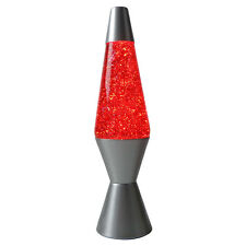 NEW Motion Lava Lamp 37cm Silver Base Red/Glitter [RM-KM802BG] Party Night Light
