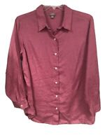 J.Jill Womens 1X Pink Linen Button Down Collared Shirt Blouse Top