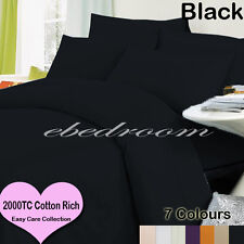 Double 2000TC Cotton CVC Easy Care Quilt Cover&Tailored Pillowcase Black-RRP$427