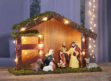 LED Weihnachtskrippe mit 9 Figuren - LED Krippe beleuchtet Krippenfiguren