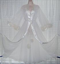 Vtg INTIME Bridal White 4 Layer Sheer Chiffon Peignoir Robe Nightgown MARABOU M