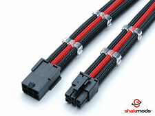 6 Pin PCI-E GPU Black Red Sleeved Extension Cable 30cm Shakmods 2 Cable Combs