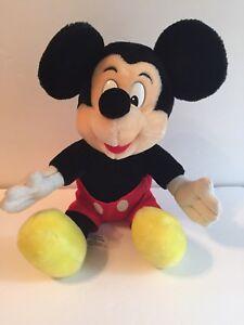 "Mickey Mouse, Disney World/Land Plush/Stuffed Animal 12"", Black/Red/White/Yellow"