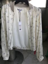 Elizabeth and James Jacque Jacket Ivory Floral Print Satin Bomber Size Small NEW