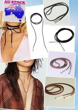 glod/silver Tube Black/brown Suede Cord String Wrap Bolo Tie Choker Necklace