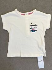 M&S WHITE T.SHIRT WITH STRIPEY ANIMAL FACE POCKET ON LEFT SIDE - 3-6m - BNWT